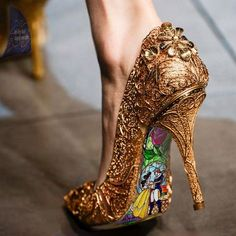 Custom hand painted Beauty and the Beast Stained Glass heels - shoes - Schuhe Damen Cute Shoes, Me Too Shoes, Pretty Shoes, Glass Heels, Disney Shoes, Cinderella Shoes, Disney Vans, Cinderella Disney, Disney Jewelry