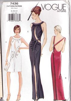 Sz – Vogue Dress Pattern 7436 – Misses 'Mock Back Wrap, Backless Evening Dress – Spacco frontale con intagli per corpetto – Vogue Patterns Vogue Patterns, Evening Attire, Evening Dresses, Corsage, Evening Dress Patterns, Backless Gown, Gown Pattern, Miss Dress, Vintage Sewing Patterns