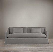Marvelous 7u0027 Belgian Classic Slope Arm Slipcovered Sofa (in Fog Linen)