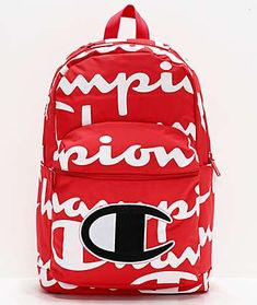 "Prepare for back to school in signature Champion style with the Supercize Red and White Backpack. This durable backpack comes in a bold red colorway with white Champion logo script throughout, while an embroidered Champion ""C"" logo on the front panel White Backpack, Mini Backpack, Laptop Backpack, Backpack Bags, Grey Backpacks, Cool Backpacks, Stylish Backpacks, Snoopy Shoes, Cute Backpacks For School"