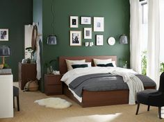 MALM High bed storage boxes - brown stained ash veneer, Lönset (CA) - IKEA High Bed Frame, Malm Bed Frame, Bed Frames, Bedroom Green, Green Rooms, Brown Carpet Bedroom, Emerald Bedroom, Green Walls, High Beds