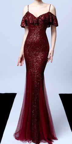 Sparkle Dark Red Classy Off Shoulder Fishtail Evening Dress (Stunning) Cocktail Dress Classy Evening, Cocktail Dresses, Long Cocktail Dress, Beautiful Dresses, Pretty Dresses, Long Gown Elegant, Dark Red Dresses, Fishtail Dress, Classy Dress