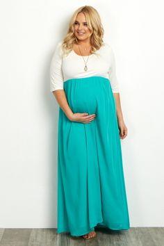Jade Chiffon Colorblock Plus Size Maternity Maxi Dress