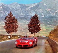 1962 Targa Florio, Ferrari Dino 246 SP entered by SEFAC Ferrari and driven into first place by Mairesse / Rodriguez / Gendebien. Sports Car Racing, Road Racing, Sport Cars, Race Cars, Motor Sport, Auto Racing, Ferrari Racing, Ferrari Car, Vintage Sports Cars