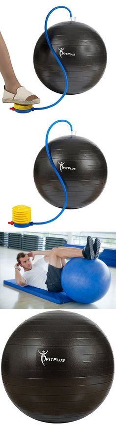 FitPlus Anti-Burst and Slip Resist Exercise Ball with Foot Pump, Black