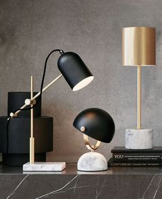 Desk lamp with marble base.