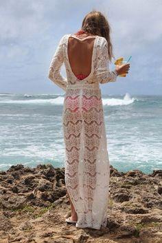 Dress: swimwear, cover up, crochet, white, backless, maxi, maxi ...