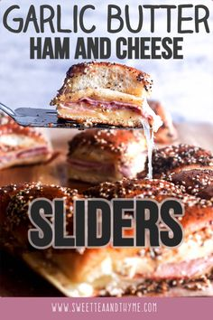Hot Ham and Cheese Sliders are a fun, easy, and crazy delicious freezer-friendly dish that is a hit at get togethers with adults and kids alike! Party Dishes, Food Dishes, Easy Desserts, Dessert Recipes, Drink Recipes, Garlic Butter Sauce, Ham Sauce, Best Appetizers, Wedding Appetizers