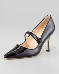 Campari Patent Leather Mary Jane, Black by Manolo Blahnik at Neiman Marcus.