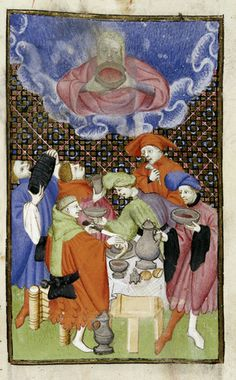 """Bacchus and his followers drinking. From Christine de Pizan, 'L'Épître Othéa' in BL Harley MS 4431 fol. 106r: """"The Book of the Queen"""" (various works), c. 1410-c. 1414 (France - Paris), made for Isabeau of Bavaria, Queen of France. Probably presented to her as a New Year's gift, Jan 1414. Later owned by John, Duke of Bedford; his wife, Jacquetta of Luxembourg; her son by her 2nd husband, Anthony Woodville, 2nd Earl Rivers; Louis de Gruthuyse; Henry Cavendish, 2nd duke of Newcastle."""