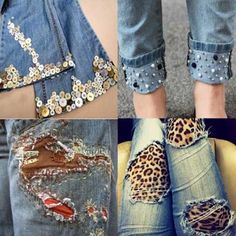 Sewing Clothes, Diy Clothes, Diy Ripped Jeans, Recycle Old Clothes, Jeans Refashion, Denim And Diamonds, Sleeves Designs For Dresses, Recycled Fashion, Embellished Jeans
