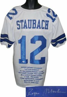 Roger Staubach signed Dallas Cowboys White Prostyle Jersey w  Embroidered  Stats- JSA Hologram . ebca6265a