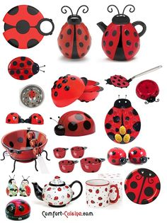 Ladybugs in Kitchen - teapot and salt shakers!!!