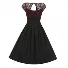 'Verona' Black Red Lace Swing Dress