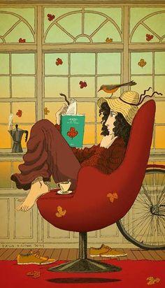 Qué placer: en casa, con un buen libro y un café (ilustración de David Pintor)