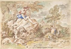 Young Hunter with His Dogs in a Landscape