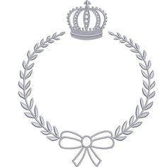 moldura ramos com laço e coroa