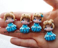 Cinderella necklace Disney princess inspired, Polymer Clay girl, masa flexible, cold porcelain, masa francesa, porcelana fria