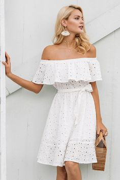 White Off Shoulder Eyelet Dress – Sofelo Eyelet Dress, Ruffle Dress, White Off Shoulder Dress, Short Summer Dresses, Casual Dress Outfits, Summer Outfits, White Casual, Look Fashion, Ideias Fashion