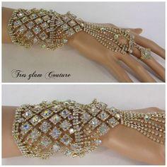 Price $39.99 Crystal Rhinestone Finger Ring Chain Bracelet