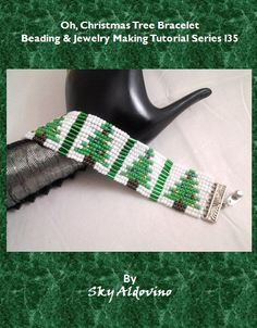 "Oh, Christmas Tree Bracelet - In this tutorial, you will learn basic Square Stitch. The basic Square Stitch will be thought in diagrams and then immediately, hone your Square Stitch skills by creating the ""Oh, Christmas Tree Bracelet. Bead Loom Designs, Bead Loom Patterns, Beading Patterns, Jewelry Making Tutorials, Beading Tutorials, Beaded Christmas Ornaments, Christmas Tree, Christmas Jewelry, Christmas Ideas"