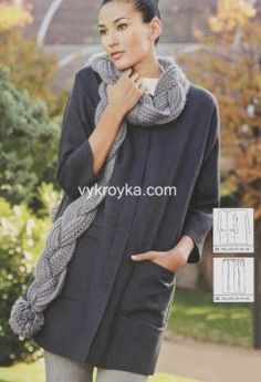Пальто покроя кимоно с карманами в рамку