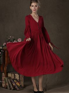 A line V Neck Long Sleeve Hemp Long Vintage Dresses