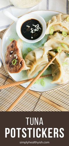 Tuna Potstickers are so easy to make and require minimal cooking! Homemade pan-fried Chinese dumplings are filled with tuna and vegetables for a meal you can enjoy as an appetizer a snack or a main dish. Save this meatless menu idea and try it on Easter! Easy Homemade Recipes, Great Recipes, Favorite Recipes, Easy Family Meals, Easy Meals, Family Recipes, Appetizer Recipes, Appetizers, Dip Recipes