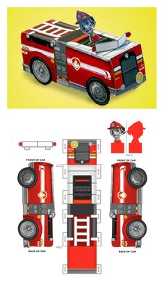 Here's a do-it-yourself toy for your mad-about-Marshall PAW Patrol fan! Paw Patrol Toys, Paw Patrol Party, Paw Patrol Birthday, Boy Birthday, Birthday Parties, Paw Patrol Marshall, Fete Laurent, Personajes Paw Patrol, Fire Truck Craft