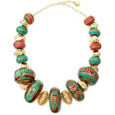 Devon Leigh Turquoise & Coral Beaded Nugget Necklace - Turquoise/Coral