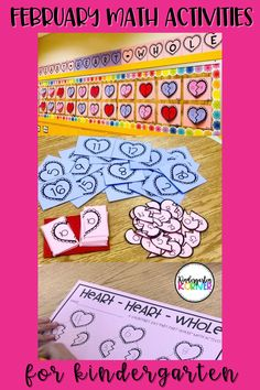 "If you're looking for February Math Ideas for Kindergarten, this ""Heart-Heart-Whole"" Number Bonds Math Activitiy is a perfect way to introduce your students to part-part-whole. This resource includes bulletin board lettering and crafts as well as math center materials and a recording sheet. Sold separately or in a February MEGA Bundle #februaryideasforkindergarten #kindergartenmath #kindergartenteacher #bulletinboards"