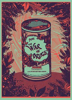 The War on Drugs at The Orange Peel, Asheville. 2 color screen print for sale www.matthewstuartdecker.com