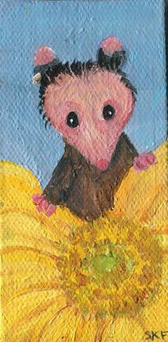 Opossum mini painting acrylic painting on by SharonFosterArt
