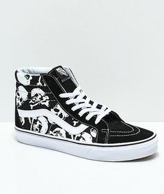 Vans' signature receives a wonderful makeover as the Skulls Black and White Skate Shoes. Featured with custom skull graphics printed across the canvas sidewalls for edgy eye-catching appeal. Emo Shoes, Skate Shoes, Sock Shoes, Shoe Boots, High Top Vans, High Top Sneakers, Vans Shoes Fashion, Sk8 Hi Vans, Nike Shoes Air Force