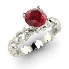 Round Ruby Ring in 14k White Gold