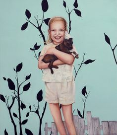 Untitled (Child with Dog) Example Of News, New Zealand Art, Medium Art, Figurative, Painters, Portraits, Artists, Children, Dogs