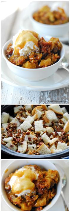 Slow Cooker Pumpkin Pecan Bread Pudding is an easy pumpkin dessert recipe for fall! only sub is I used c fat free milk/ heavy cream. Put in fridge overnight will cook in slow cooker n morning Crock Pot Desserts, Crock Pot Cooking, Delicious Desserts, Dessert Recipes, Yummy Food, Yummy Treats, Slow Cooker Recipes, Crockpot Recipes, Cooking Recipes