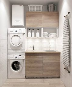 Small laundry: The best ideas for a small laundry! - laundry: The best ideas for a small laundry!Small laundry: The best ideas for a small laundry! Laundry Room Organization, Laundry Room Design, Design Kitchen, Laundry Storage, Closet Storage, Ikea Closet, Small Apartments, Small Spaces, Small Small