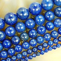 Kup si Natural Lapis Lazuli 4mm 6mm 8mm 10mm 12mm 14mm Round Beads 15.5inches/strand Pick Size For Jewelry Making za Wish - Nakupování je zábava