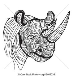 Vector - Rhino rhinoceros animal head - stock illustration, royalty free illustrations, stock clip art icon, stock clipart icons, logo, line art, EPS picture, pictures, graphic, graphics, drawing, drawings, vector image, artwork, EPS vector art