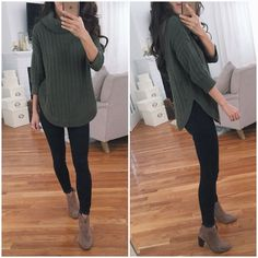 Tan Boots Outfit, Green Sweater Outfit, Ankle Boots Outfit Winter, Bootfahren Outfit, Winter Boots Outfits, Casual Winter Outfits, Casual Fall, Sweater Outfits, Fall Outfits