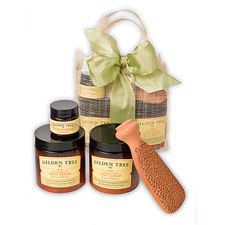 Complete Organic Foot Care Kit - Foot Cream, Foot Scrub, a Foot Scrubber and a little jar of 95% Shea Butter Balm, all tied up in a pretty bow.