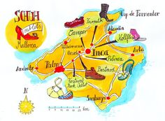 Mallorca, Spain. Special Map, shoe finder  hand drawn. Landkarte Mallorca, handmade. Travel Around The World, Around The Worlds, Illustrator, European Travel, Me On A Map, Hand Drawn, How To Draw Hands, Spain, Shoe