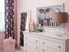 Liz Carroll Interiors: Perfect pink girl's bedroom with gorgeous drapes from Caitlin Wilson Textiles in Navy ...