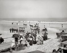 "Daytona Beach, Florida, circa 1904. ""Bathing hour on the beach at Seabreeze."" 8x10 inch dry plate glass negative, Detroit Publishing Company..."