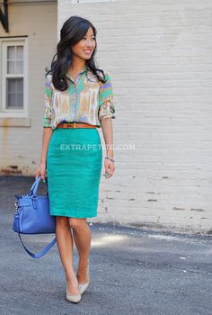 Business casual doesn't have to be boring! Pair a color pencil shirt with a patterned blouse to show personality. Add a belt, nude pumps, an accent bag, and you're ready to take on the work day!