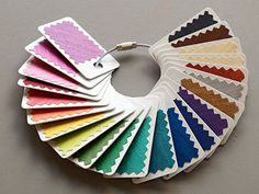 Confessions of a Color Nut – Cedar Canyon Textiles – Modern Paint Swatch Art, Paint Chip Art, Paint Swatches, Color Swatches, Fabric Swatches, Paint Chips, Fabric Display, Organize Fabric, Diy Wall Art