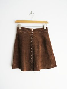 Suede A-Line Skirt // Vintage 1970's Brown Suede Skirt SOLD
