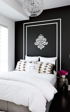 black and white decor, bedroom, black walls, chandelier, interiors  #bedrooms
