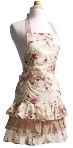 Vintage Ruffled Apron. Cute materials and ruffles.